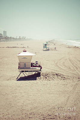Huntington Beach Lifeguard Tower #1 Vintage Picture Poster