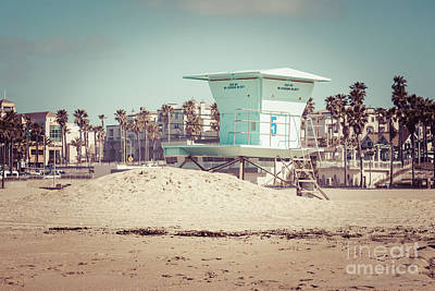 Huntington Beach Lifeguard Tower #5 Retro Picture Poster by Paul Velgos