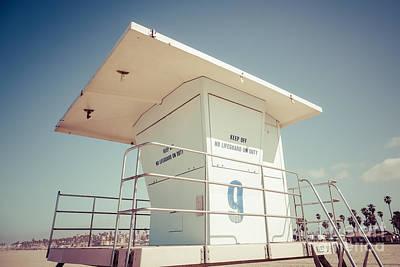 Huntington Beach Lifeguard Tower Retro Photo Poster