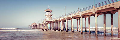 Huntington Beach Pier Retro Panorama Picture Poster by Paul Velgos