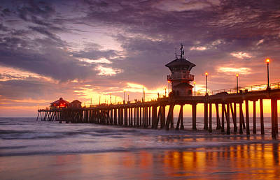 Huntington Beach Pier Sunset Poster by Dung Ma