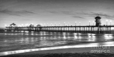 Huntington Beach Pier Twilight - Black And White Poster by Jim Carrell