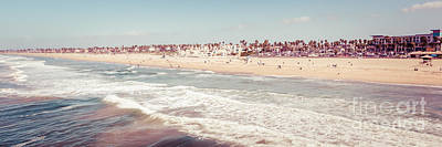 Huntington Beach Retro Panorama Photo Poster