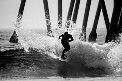Huntington Beach Surfer 2 Poster by Pierre Leclerc Photography