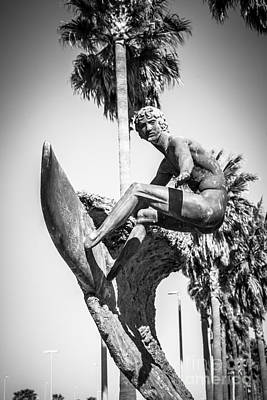 Huntington Beach Surfer Statue Black And White Picture Poster by Paul Velgos