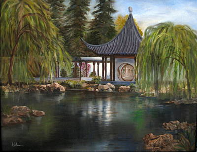 Poster featuring the painting Huntington Chinese Gardens by LaVonne Hand