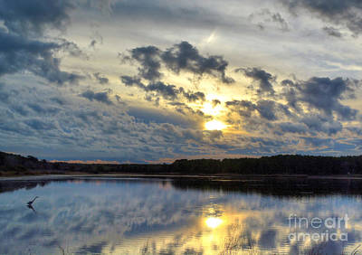Huntington Sunset Reflection Poster