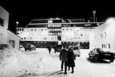Hurtigruten Mv Midnatsol Ship Calling At Night In Vardo Finnmark Norway Europe Poster by Joe Fox