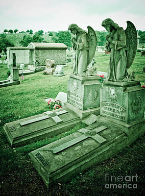 Husband And Wife Angel Gravestones Poster by Amy Cicconi