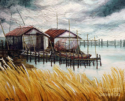 Poster featuring the painting Huts By The Shore by Joey Agbayani