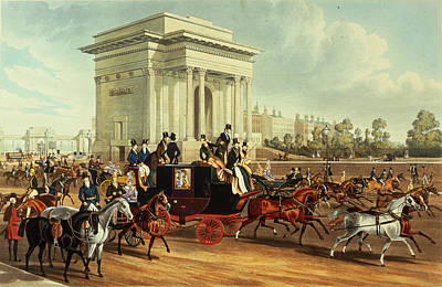 Hyde Park Corner, After James Pollard, Published By Ackermann, 1836 Aquatint Poster by English School