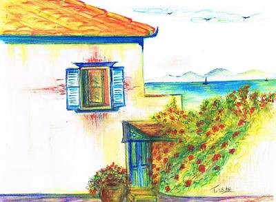 Poster featuring the painting Greek Island Hydra- Home by Teresa White
