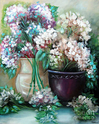Poster featuring the painting Hydrangea Melody by Patrice Torrillo