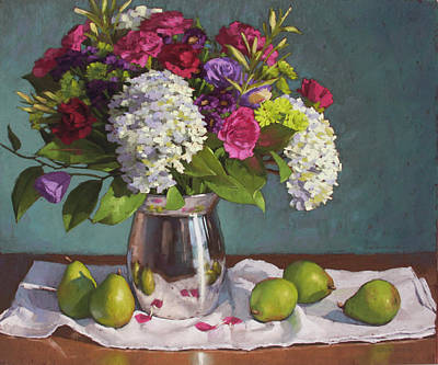Hydrangeas And Pears Poster by Sarah Blumenschein
