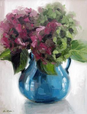 Hydrangeas In Blue Vase Poster