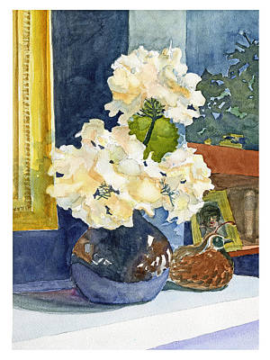Hydrangeas On Mantle Poster