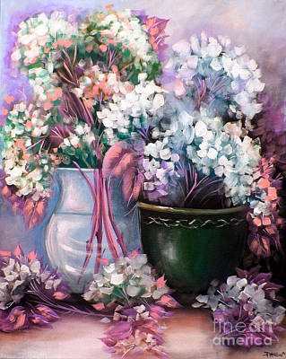 Poster featuring the painting Hydrangeas Still Life Pink by Patrice Torrillo