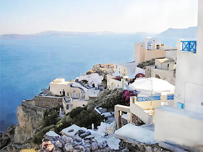 I Admit It I Am Mad About You Santorini Poster by Judy Paleologos