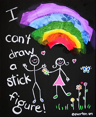 I Can't Draw A Stick Figure Mixed Media Kids Room Painting Poster