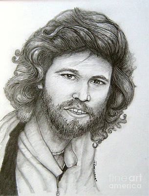 Poster featuring the drawing Barry Gibb by Patrice Torrillo