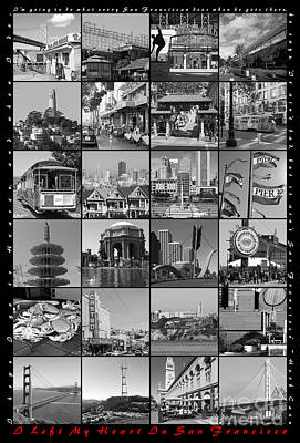 I Left My Heart In San Francisco 20150103 Vertical With Text Bw Poster