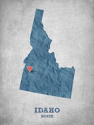 I Love Boise Idaho- Blue Poster
