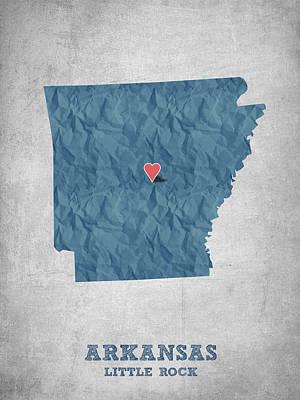 I Love Little Rock Arkansas - Blue Poster
