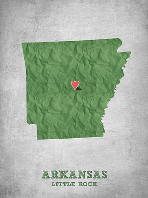 I Love Little Rock Arkansas - Green Poster by Aged Pixel
