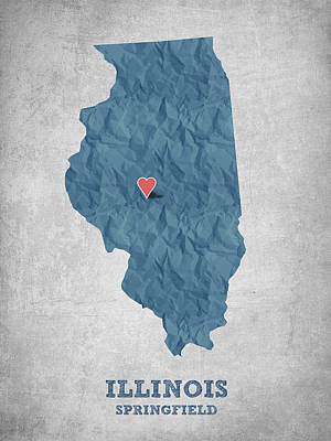 I Love Springfield Illinois - Blue Poster by Aged Pixel