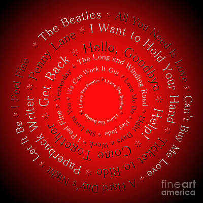 I Love The Beatles 2 Poster by Andee Design