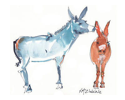 I Love You Donkey Art Watercolor Painting By Kmcelwaine Poster by Kathleen McElwaine