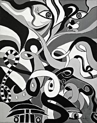 I Seek U - Abstract Eye Paintings, Black And White Eye Art - Ai P. Nilson Poster