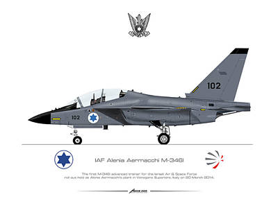 Poster featuring the drawing Iaf Aermacchi M346i by Amos Dor