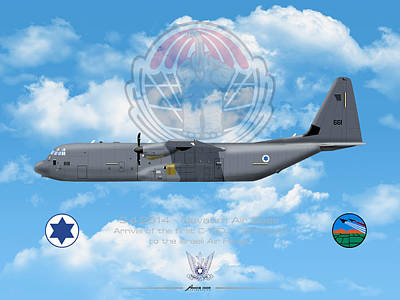 Poster featuring the drawing Iaf C-130j Shimshon by Amos Dor