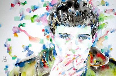 Ian Curtis Smoking Cigarette Watercolor Portrait Poster