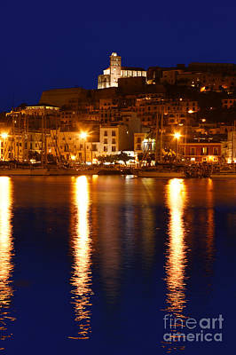 Ibiza Old Town At Night Poster by Rosemary Calvert