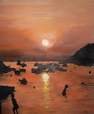 Poster featuring the painting Ibiza Sunset by Cherise Foster