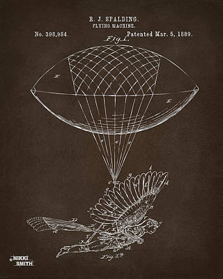 Poster featuring the drawing Icarus Airborn Patent Artwork Espresso by Nikki Marie Smith