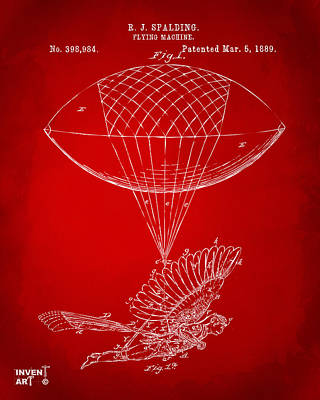 Icarus Airborn Patent Artwork Red Poster by Nikki Marie Smith