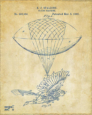 Icarus Airborn Patent Artwork Vintage Poster by Nikki Marie Smith