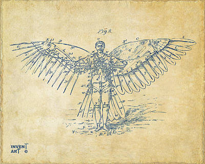 Icarus Flying Machine Patent Artwork Vintage Poster by Nikki Marie Smith