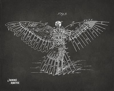 Icarus Human Flight Patent Artwork - Gray Poster