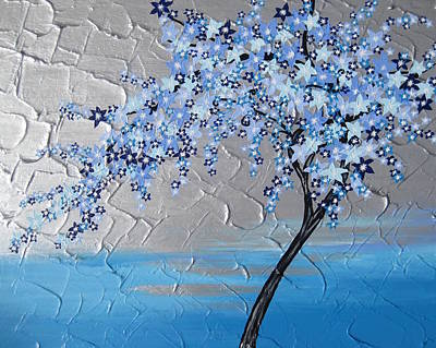 Ice Blue Cherry Blossom Poster by Cathy Jacobs