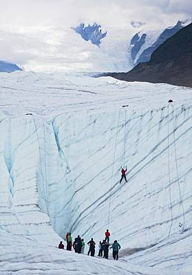 Ice-climbing Class On A Glacier Poster