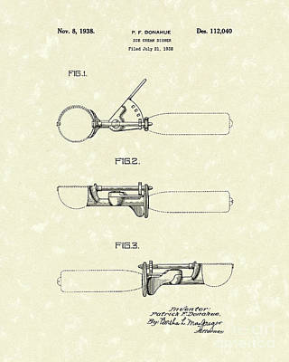 Ice Cream Scoop 1938 Patent Art Poster