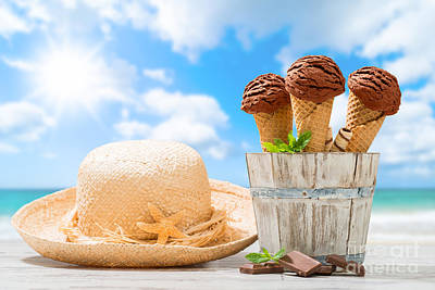 Ice Creams At The Beach Poster by Amanda Elwell
