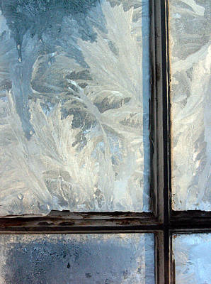 Ice Crystals On Windowpanes Poster
