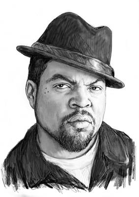 Ice Cube Art Drawing Sketch Portrait Poster by Kim Wang