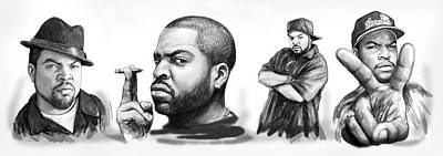 Ice Cube Blackwhite Group Art Drawing Sketch Poster Poster by Kim Wang