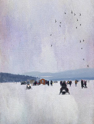Ice Fishing And Snowmobiles  Poster